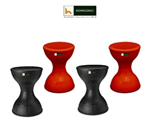 HOMEGENIC Nilkamal Stool 12 Set of 04 (Red & Black)