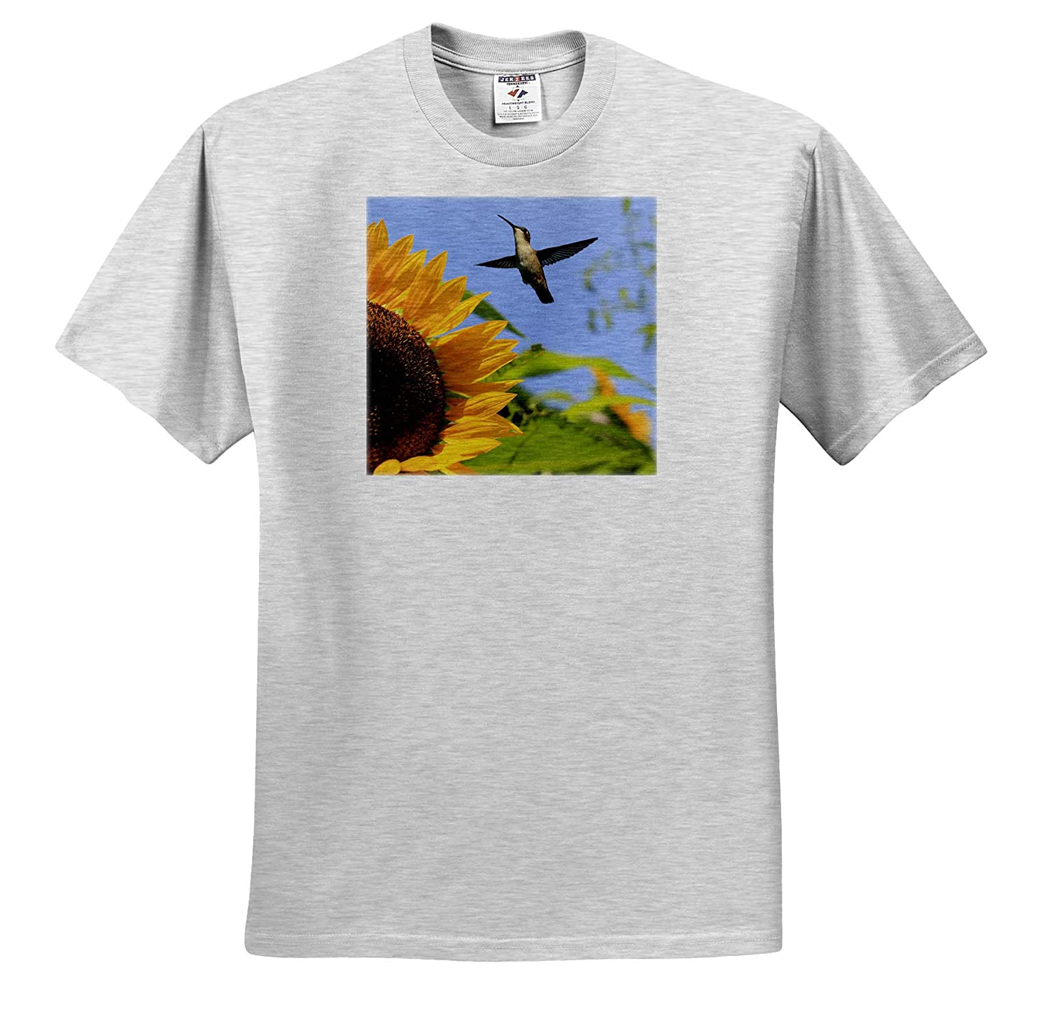 - T-Shirts 3dRose Stamp City Nature Photo of a Ruby Throated Hummingbird Flying by a Mammoth Sunflower