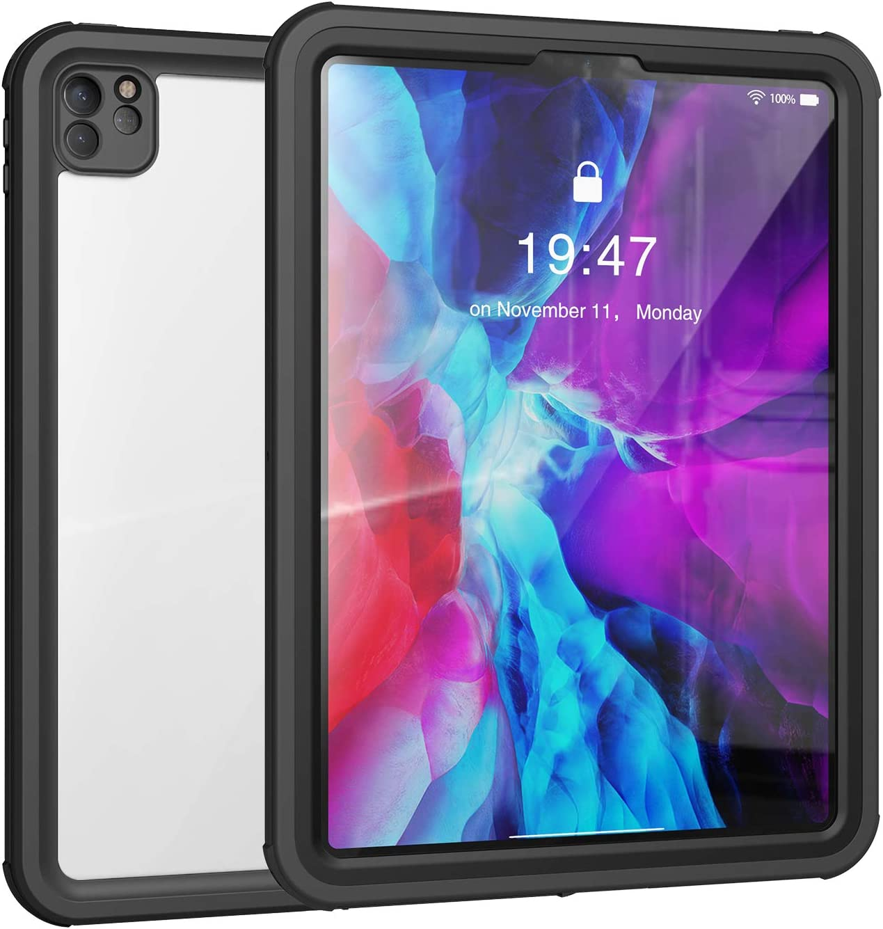 iPad Pro 11 Waterproof Case(2nd Generation) 2020,Waterproof Protective Case with Built-in Screen Protector Shock-Absorbing Bumper Dustproof Submersible Full-Body Case