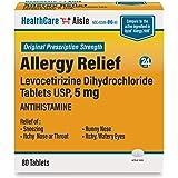 HealthCareAisle Allergy Relief Levocetirizine Dihydrochloride Tablets, USP 24 Hour Allergy Relief 5 mg, 80 Count