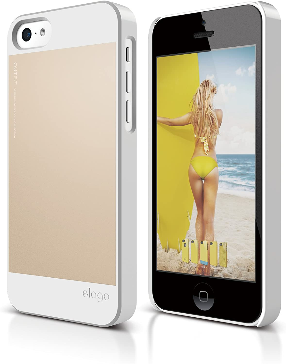 elago S5C Outfit Morph Aluminum and Polycarbonate Dual Case for The iPhone 5C - eco Friendly Retail Packaging (White/Gold)