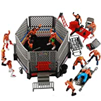 NWFashion 31PCS Wrestling Playset for Kids WWE Wrestler Warriors Toys Ringside