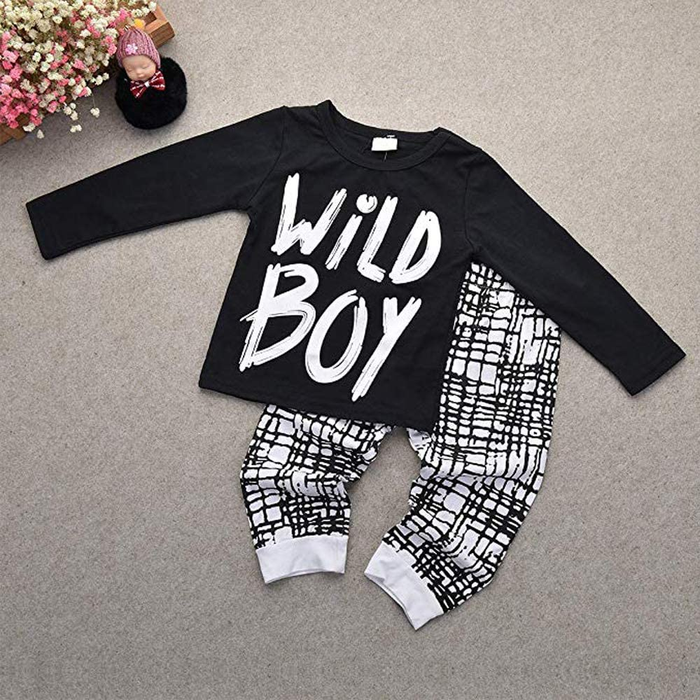 Afocuz 2 Pcs Newborn Baby Boys Clothes Wild Boy Letter Print T-Shirt Tops and Pants Outfits Set
