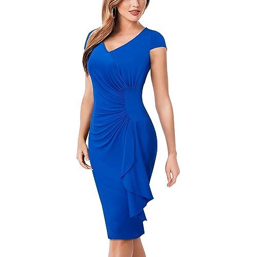 HOMEYEE Womens Elegant Short Sleeve V Neck Knee Length Retro Pencil Dress B388
