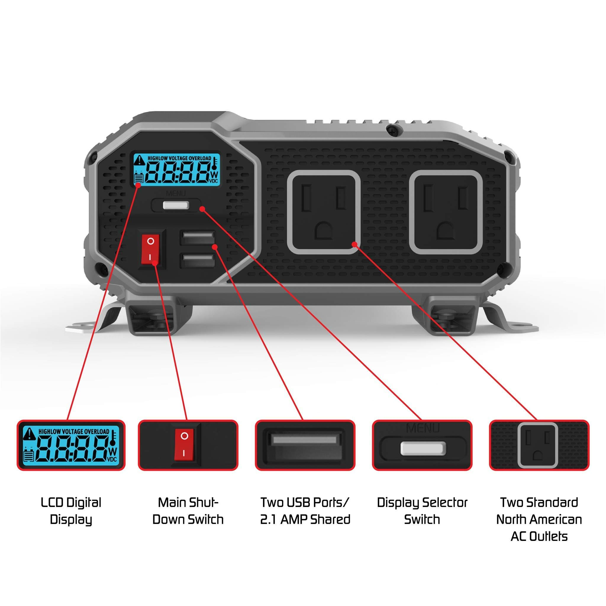 ENERGIZER 2000 Watt 12V Power Inverter, Dual 110V AC Outlets, Automotive Back Up Power Supply Car Inverter,Converts 120 Volt AC with 2 USB ports 2.4A Each by Energizer (Image #2)