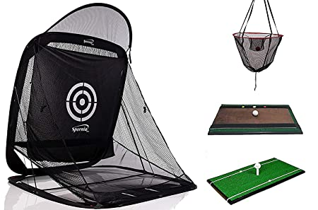 Spornia 3pc Golf Bundle SPG-7 Golf Practice Net Heavy Hitting Golf Mat Swing Indicator Trainer Attachment 2EA Pro. Reg Ball Return Chipping Target Basket 2EA