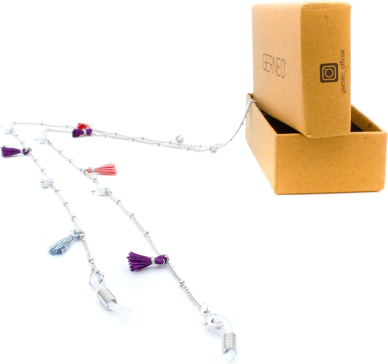 aus 18 Karat Gold oder 925er Silber DAS ORIGINAL Pastellt/öne Perlen /& F/ähnchen Premium Brillenkette /& Brillenband Kollektion 2020 Unisex f/ür Lesebrille /& Sonnenbrille GERNEO