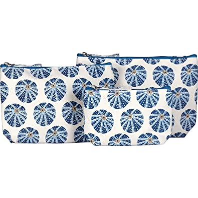 Rockflowerpaper Sea Urchin Blue Canvas Cosmetic Makeup And Travel