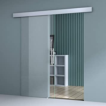 Sogood Puerta corrediza de vidrio 77.5x205cm diseño Amalfi TS20-775 Sistema Softclose y vidrio de seguridad transparente con tirador de barra de acero inoxidable: Amazon.es: Bricolaje y herramientas
