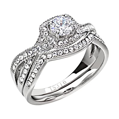 1.90 Ct Halo Round Cut AAA Cz Stainless Steel Womenu0027s Infinity Wedding Ring  Set Size 5