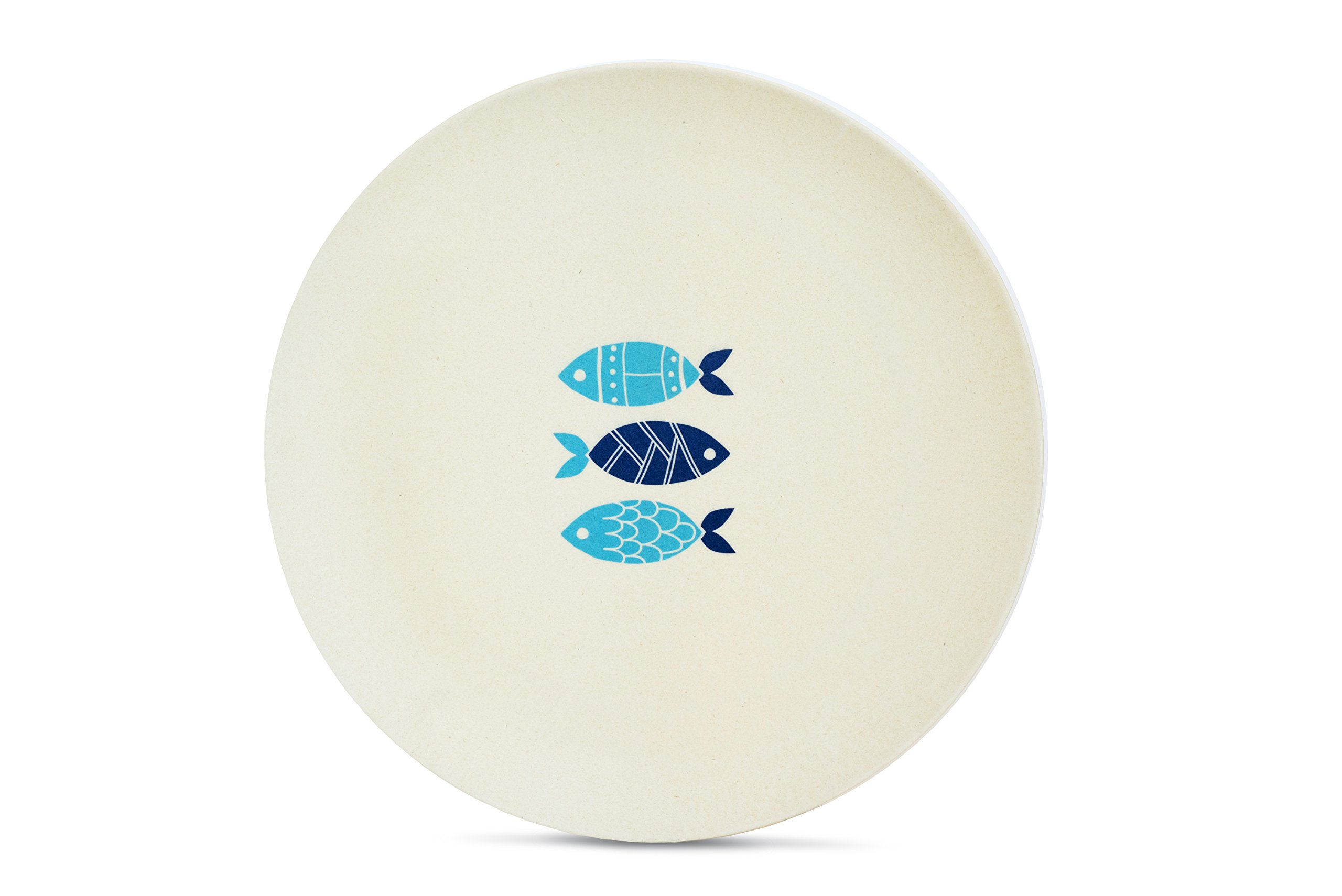 Aquaterra Living Ecofriendly Dinner Plate Set with Fish Designs- Set of 6, 10'' indoor or outdoor plates