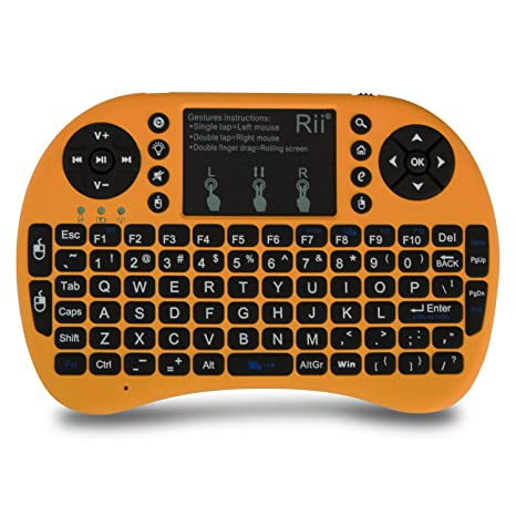 739d8b0918e Amazon.com: Rii 30030335 i8+ Mini Wireless 2.4G Backlight Touchpad Keyboard  with Mouse for PC/Mac/Android, Gold: Computers & Accessories