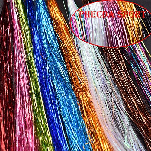(Phecda Sport 10 Packs 0.28MM Crystal Flash Tinsel Flashabou Mylar Tinsel Fly Tying Material (10 Packs-10 Colors) )
