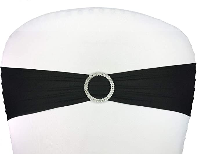 ElegantCircle 100 Pack Wedding Chair Sashes for Wedding Party with Sparkling Buckle Chair Sashes Bows (Black)