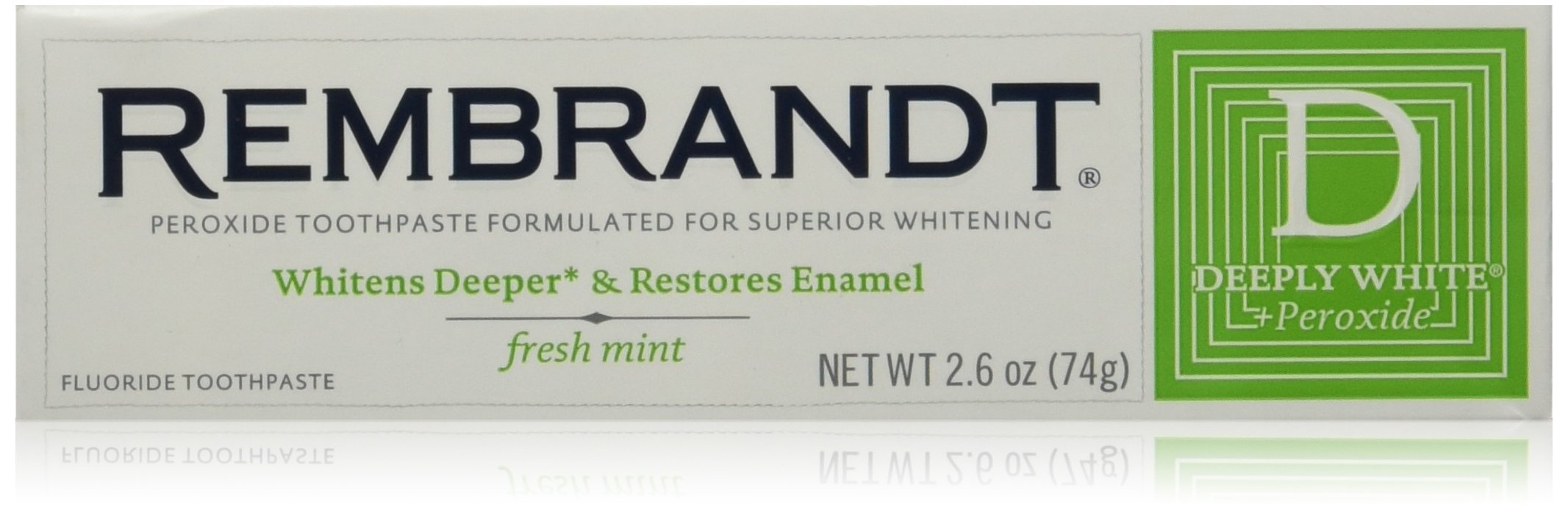 Rembrandt Plus Deeply White + Peroxide Whitening Toothpaste with Fluoride, Winter Mint 2.6oz(74 g)