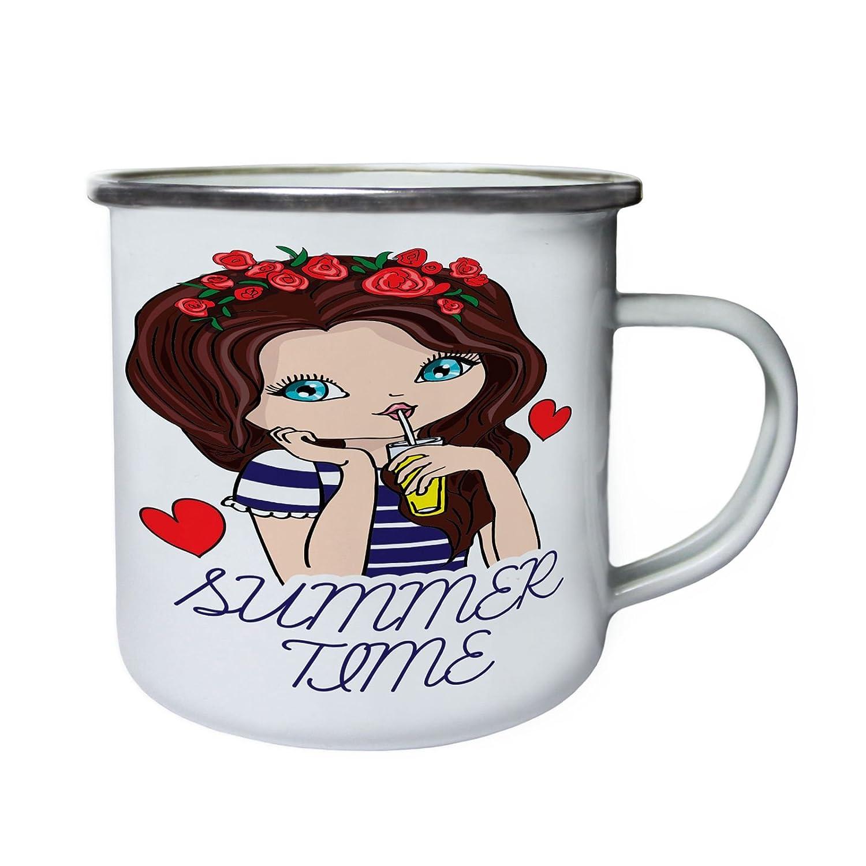 Hora de verano chica bebiendo limonada Retro, lata, taza del esmalte 10oz/280ml bb151e INNOGLEN
