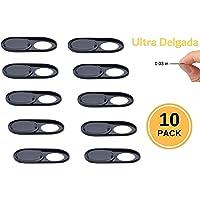 Foretra Cubierta de Privacidad Ultra Delgada de Metal (Paquete de 10) para Camara Web en Laptops| Tabletas | Telefonos | Videojuegos (Negra 10 Pack)