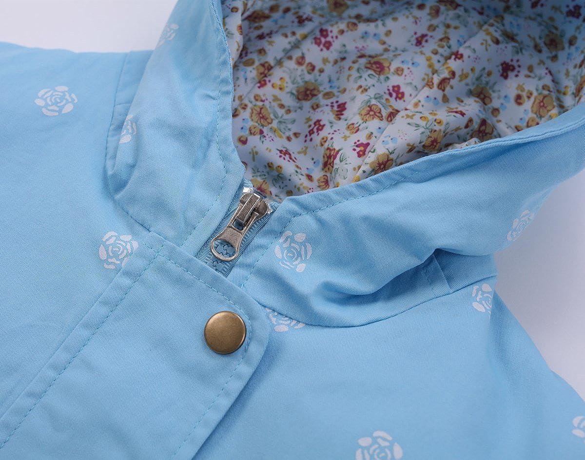 LE CHARME Girls Spring Fall Winter Jacket Wind Hooded Coat Flower Printing Zipper Lightweight Windbreaker