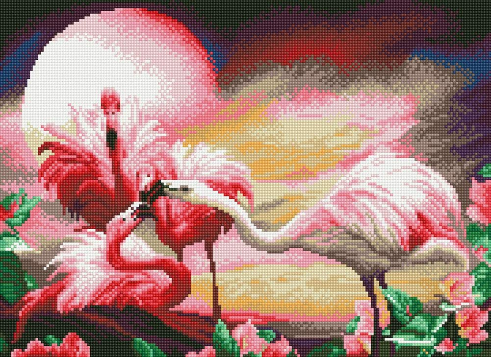 TINMI ARTS 5D Diamond Painting Full Round Kits for Adults DIY Mosaic Cross Stitch Pattern Handmade Embroidery Kits Wall D/écor 23X18 Flamingo