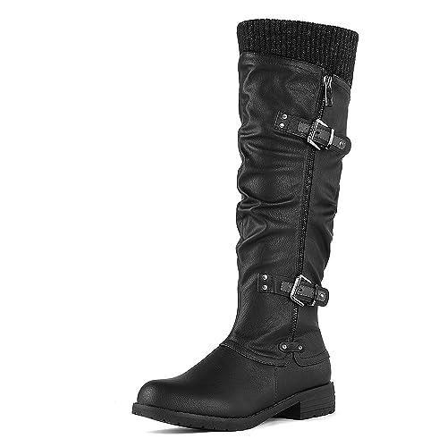 f049a81dcdd0 DREAM PAIRS Women s Depp Side Zipper Knee High Riding Boots  Amazon ...