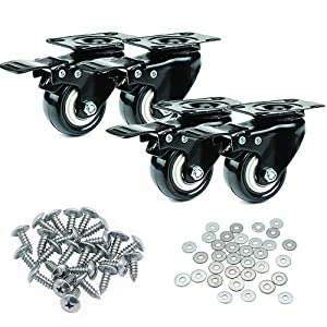 """2"""" Heavy Duty Swivel Caster Wheels Polyurethane PU Swivel Casters with 360 Degree Top Plate 600 LB Total Capacity for Pack of 4,Locking, Rubber Wheel, Castor Set, for Furniture, Dolly,Carts"""