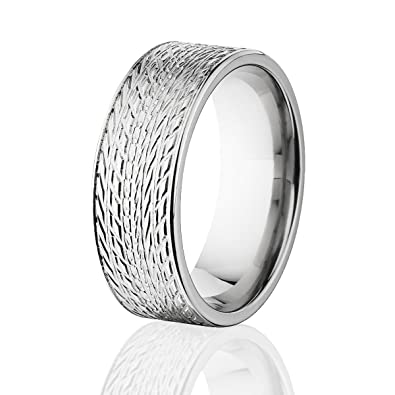 tire tread titanium ring 8mm wide tire bands car ring mens rings made in america - Tire Wedding Rings