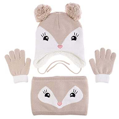 25e8d293f Adorable Fox Hat Gloves Scarf Set Warm Knit Baby Cotton Earflap Cap and  Scarves with Stretchy Baby Gloves