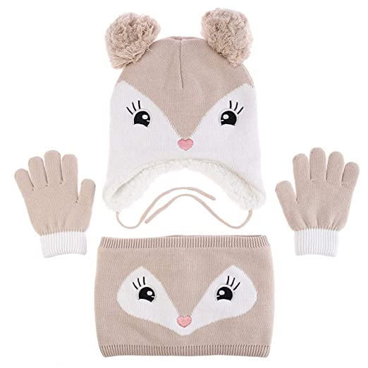 Adorable Fox Hat Gloves Scarf Set Warm Knit Baby Cotton Earflap Cap and  Scarves with Stretchy e99e48666c97