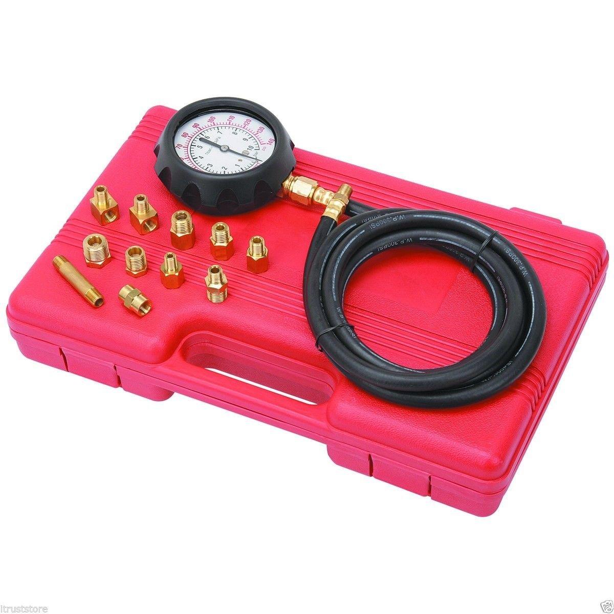 14 piece Engine Oil Pressure Tester Test Gauge Diagnostic Test Tool Set Kit by Jecr (Image #3)