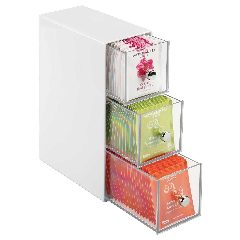 mDesign Küchen Organizer mit 3 Schubladen – ideal als Teebox zum ...
