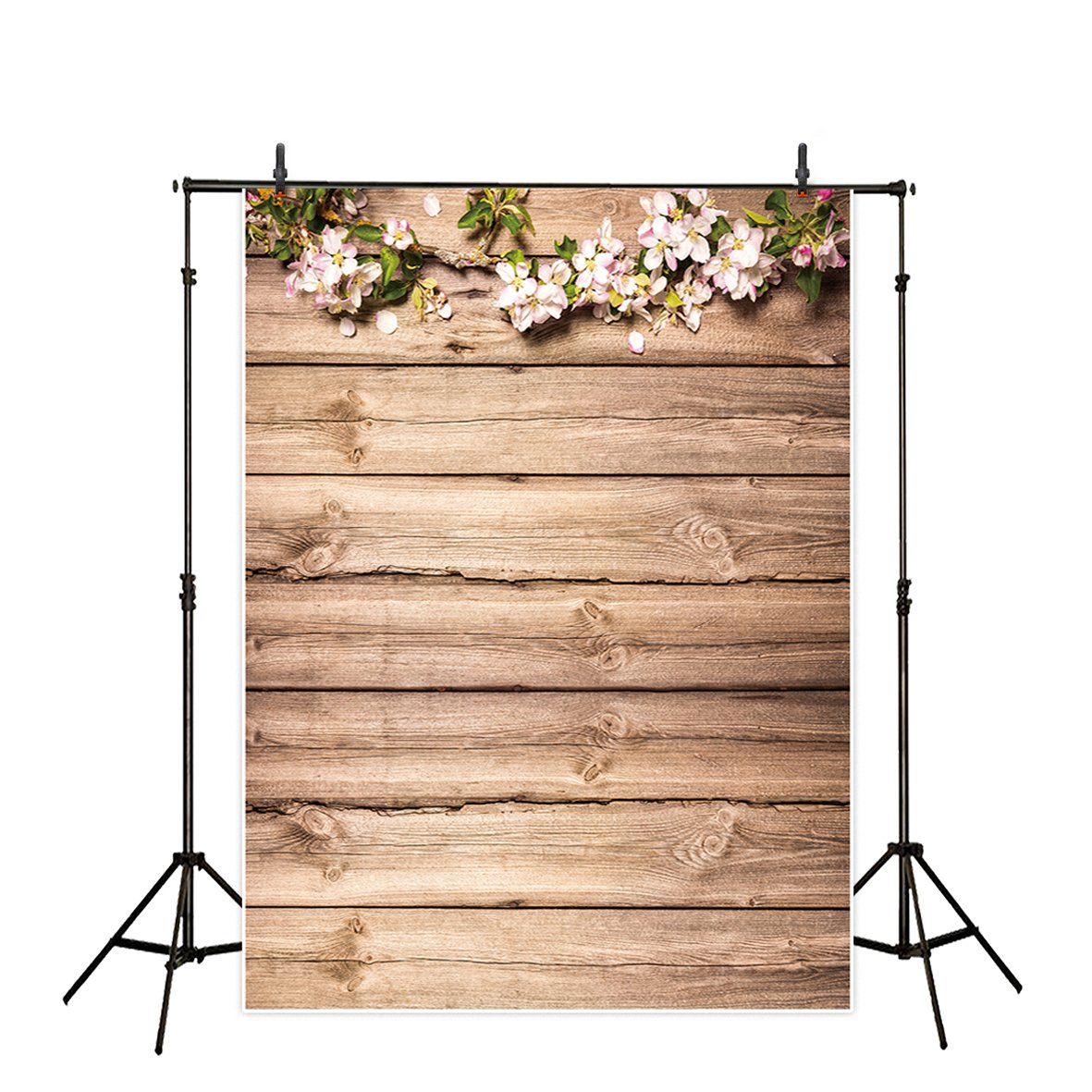 Allenjoy 5x7ft Thin Vinyl Wood Backdrop Antique Wooden Plank Board Floral Branch and Petals Background for Photography or Decoration