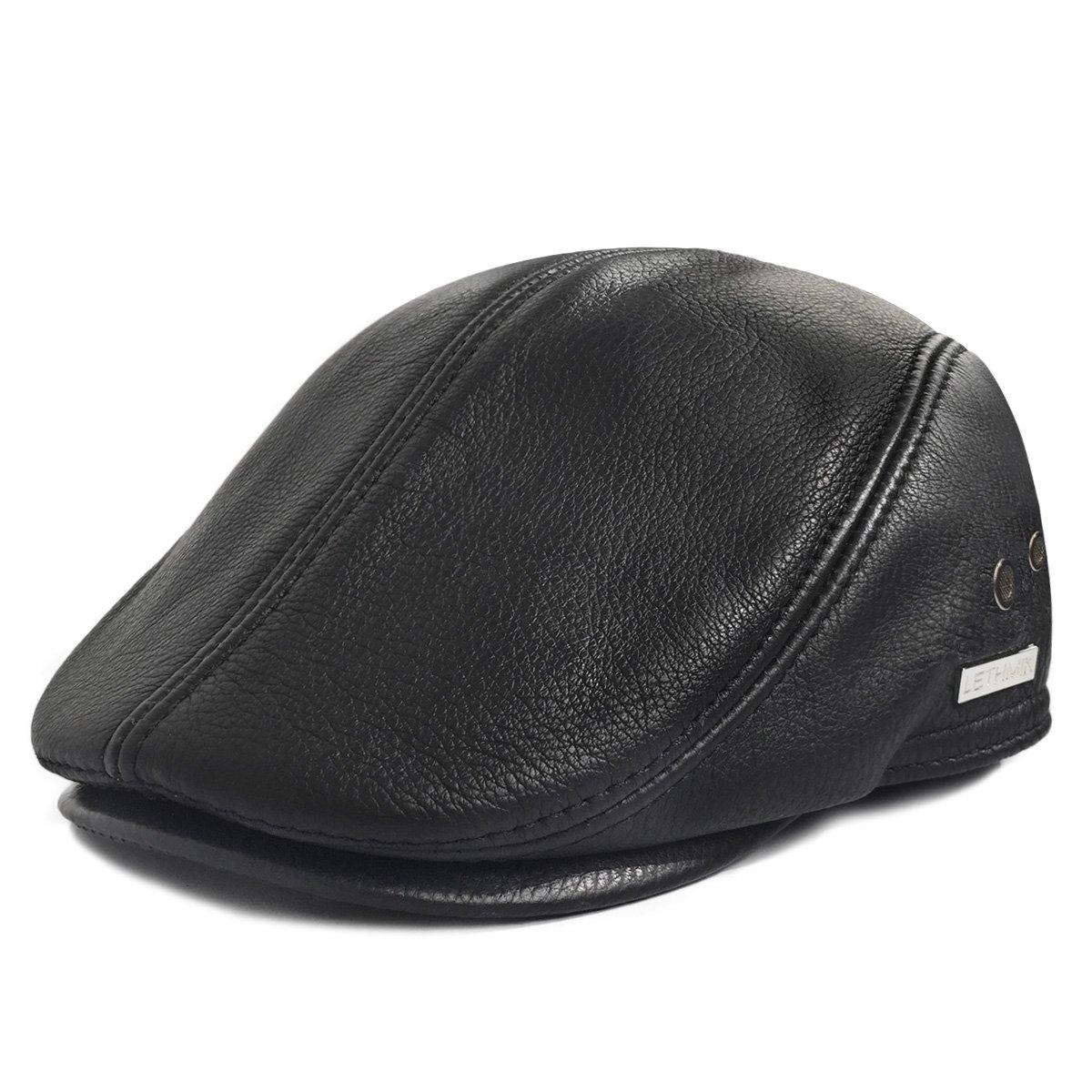 Amazon.com  LETHMIK Flat Cap Cabby Hat Genuine Leather Vintage Newsboy Cap  Ivy Driving Cap  Sports   Outdoors b7ce821ccdd