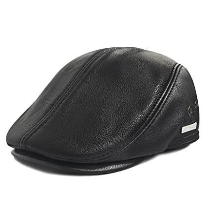 LETHMIK Flat Cap Cabby Hat Genuine Leather Vintage Newsboy Cap Ivy Driving  Cap L-Black bb03ae86152