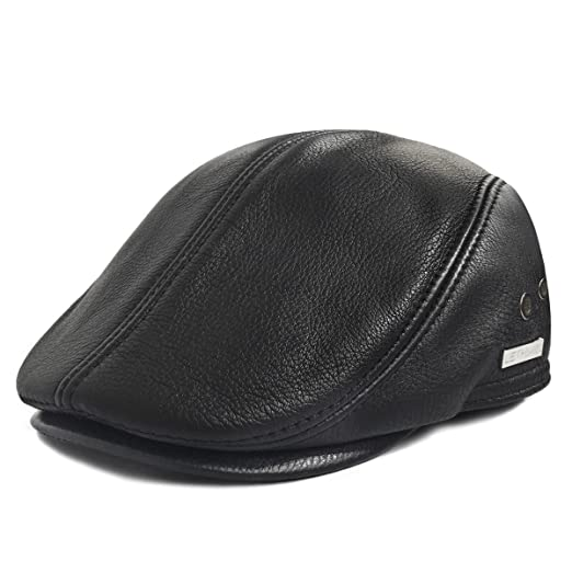Amazon.com  LETHMIK Flat Cap Cabby Hat Genuine Leather Vintage Newsboy Cap  Ivy Driving Cap  Sports   Outdoors b9113e4b3a3