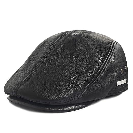7b699150ce7 Amazon.com  LETHMIK Flat Cap Cabby Hat Genuine Leather Vintage Newsboy Cap  Ivy Driving Cap  Sports   Outdoors