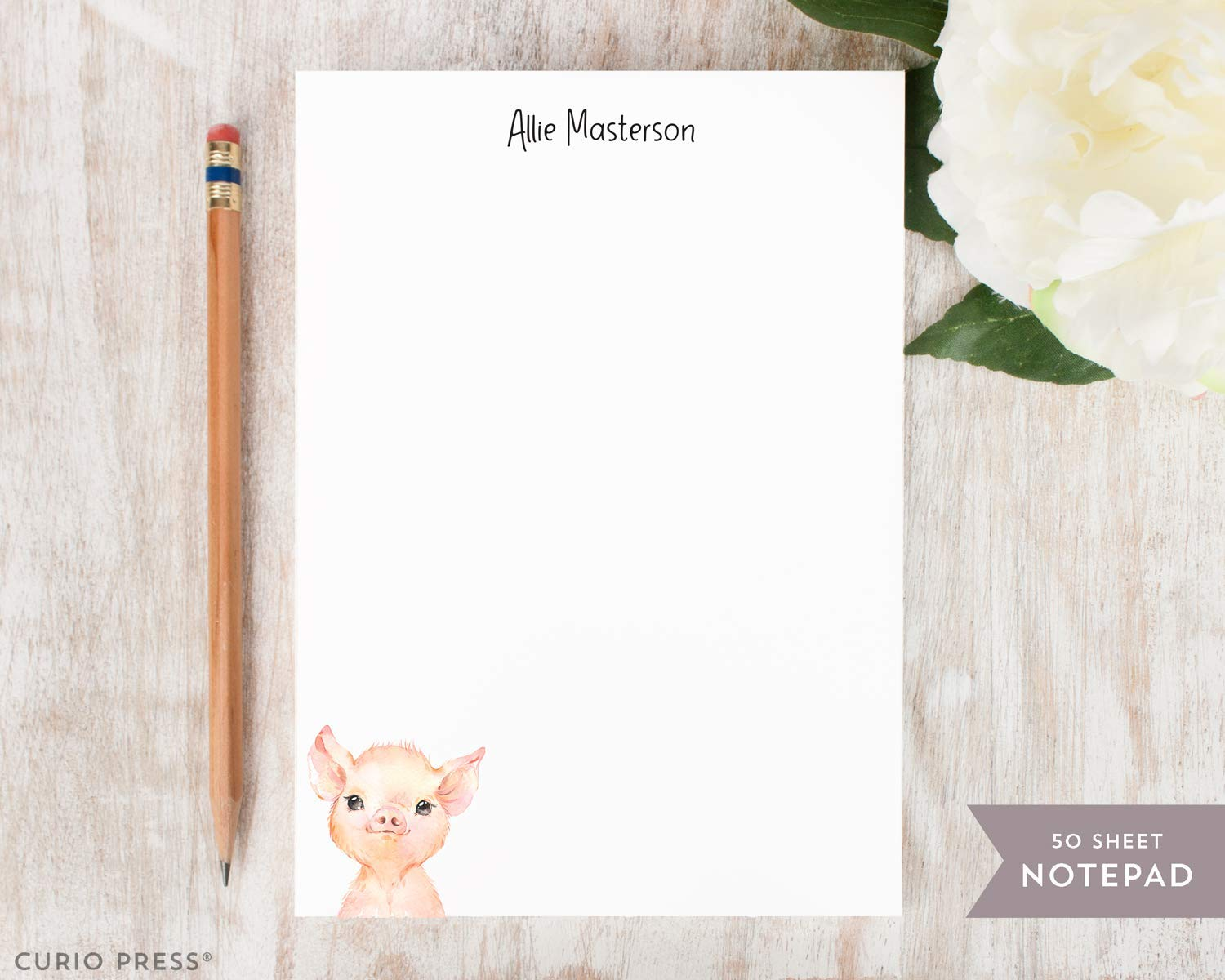 BABY ANIMALS NOTEPAD Personalized Stationery//Stationary Kids 5x7 or 8x10 Note Pad