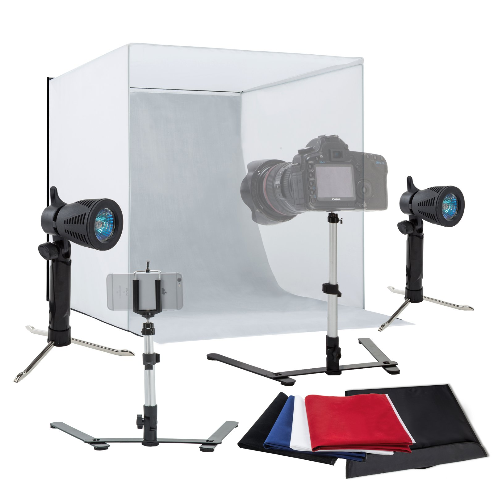 SUNCOO 18'' Photo Studio Box Photography Light Shooting Tent Folding Photo Shooting Box with Mini Camera Stand and Backdrops by SUNCOO
