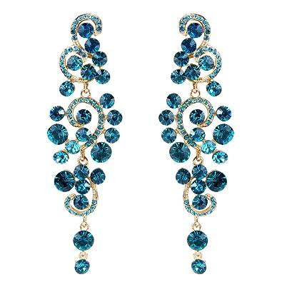 Clearine Women's Bohemian Boho Crystal Flower Wedding Bridal Chandelier Teardrop Bling Dangle Earrings H2zkyPSl2U