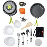 MalloMe Camping Cookware Mess Kit Backpacking Gear & Hiking Outdoors Bug Out Bag Cooking Equipment Cookset | Lightweight, Compact, Durable Pot Pan Bowls - Free Folding Spork, Nylon Bag, Ebook
