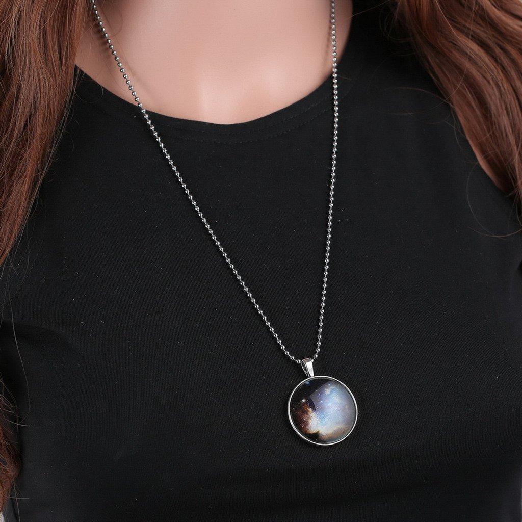 Yumilok Jewelry Collier Pendentif Lumineux Bleu en Alliage et R/ésine la Vo/ûte /Étoil/ée en Fashion et R/étro Noir pour Femme Cadeau Toussaint