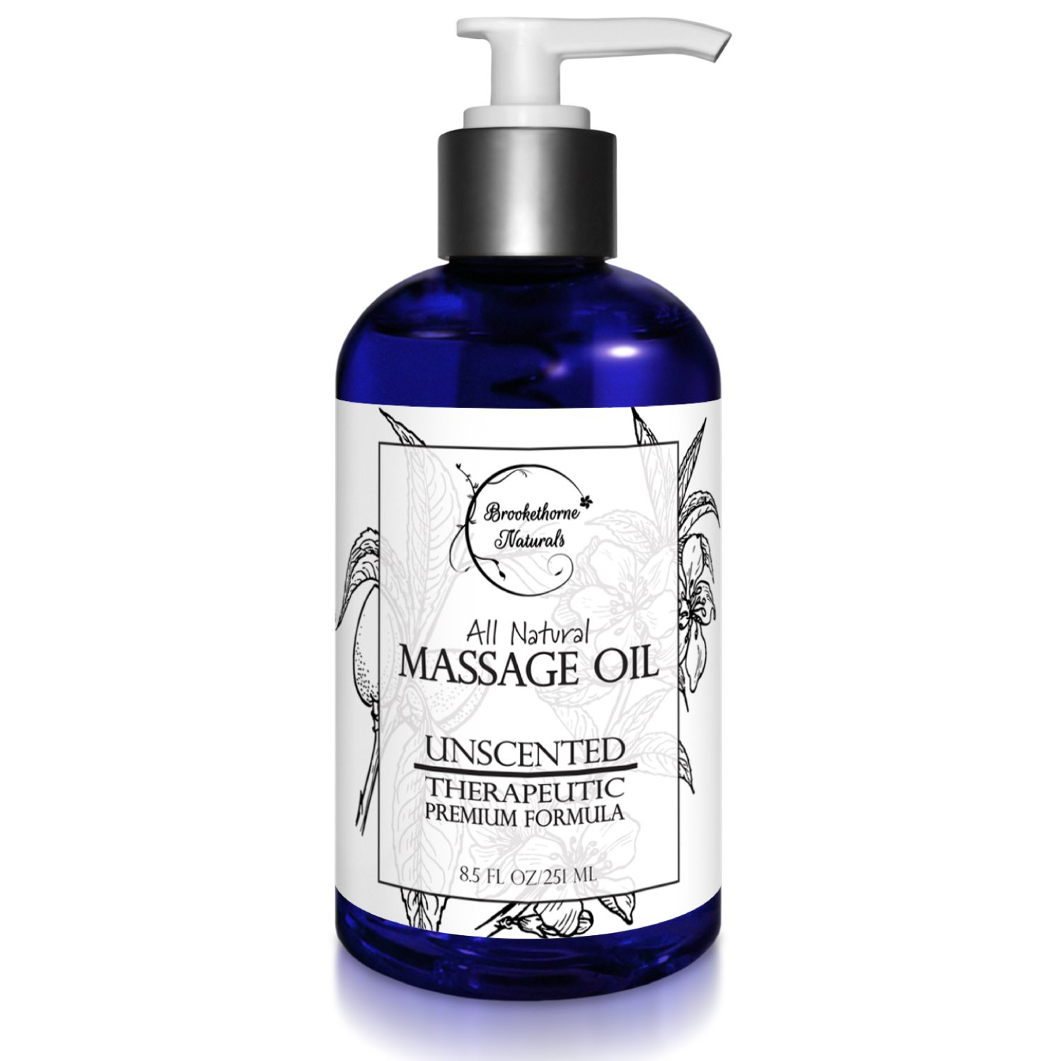 Almond Massage Oil - All Natural, Unscented Spa Quality Formula. Great for Massage Therapy, Body Massage & Therapeutic Massage - with Sweet Almond, Jojoba & Grapeseed Oils - 8.5oz by Brookethorne Naturals