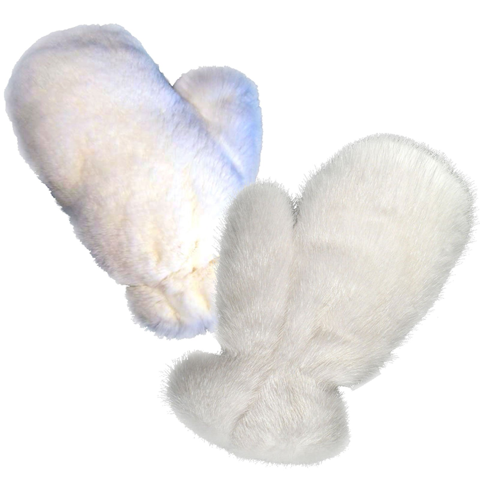 MinkgLove Combination Massage Glove, Mink and Rex Rabbit, Alternating Sensations Silky Smooth and Velvety Soft, White, Hand Tailored, Unisex - Double Sided Fur