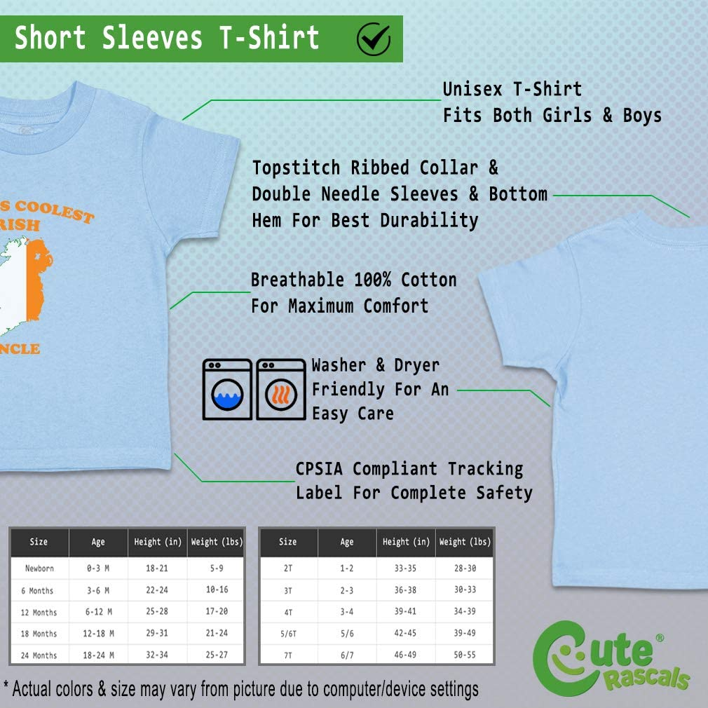 Custom Baby /& Toddler T-Shirt Worlds Coolest Irish Uncle Boy Girl Clothes