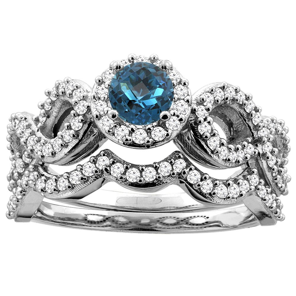 14K White Gold Natural London Blue Topaz Engagement Halo Ring Round 5mm Diamond 2-piece Accents, size 9.5