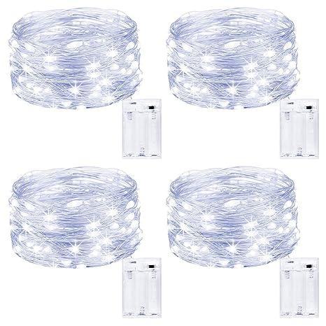 Kolpop Guirnalda Luces Pilas, Luces LED Pilas[4 PCS], Luces LED Habitacion 5m 50 LED Luces de Cadena Micro con Pilas de Alambre de Cobre para ...