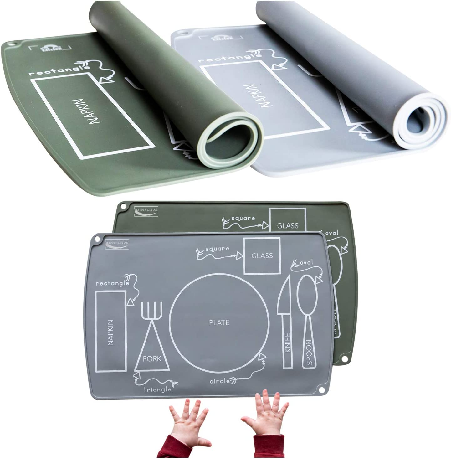 Kids placemats - Montessori Inspired Table mat - Easy Clean - Great for Baby led weaning - Educational placemats for Kids, Will Help Your Toddler Develop Independent Eating Skills - Toddler placemat