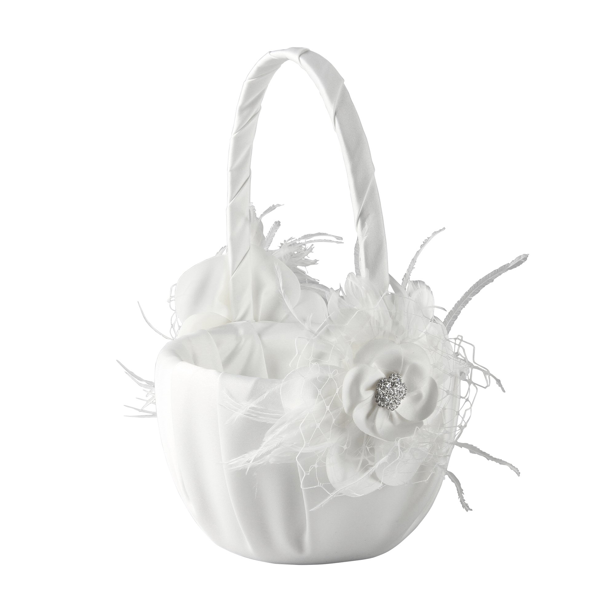Ivy Lane Design Somerset Collection Flower Girl Basket, White