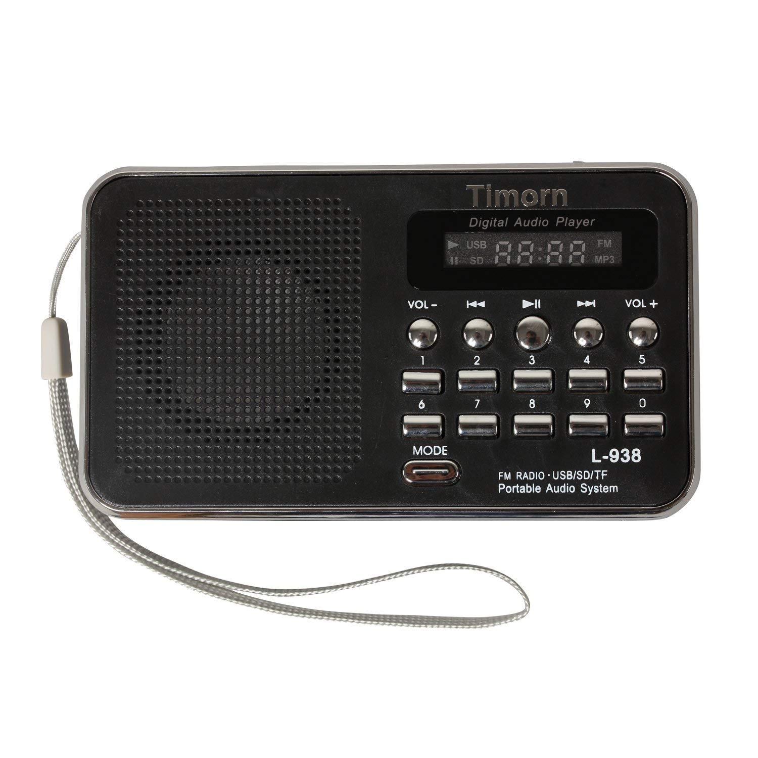 Emergency Radio Portable, Timorn Small Radio Digital Radio Mini Music Player Supports TF Card/USB/SD/MP3 Format/FM Radio Function (Black) T68