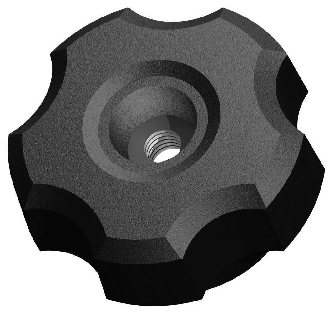 Innovative Components AN5C-F221 1.38'' Fluted knob thru hole 5/16-18 steel zinc insert black pp (Pack of 10)