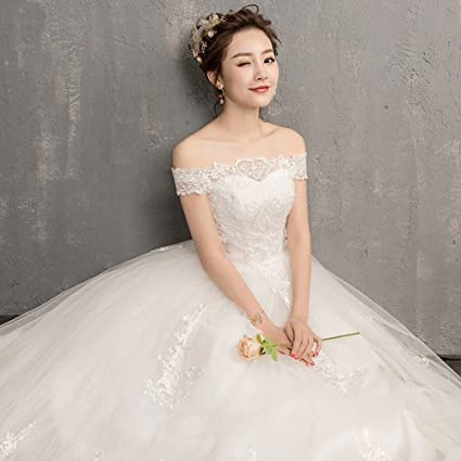 c8bd8a6e4b8 Amazon.com  SLR One-Shoulder Wedding Dress Korean Wedding Dress Shoulder  Long-Sleeved lace Qi was Thin  Sports   Outdoors